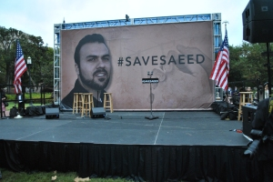 We joined a prayer walk for Pastor Saeed in front of the White House.