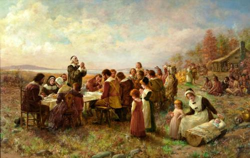 """First Thanksgiving at Plymouth,"" Jeannie Brownscombe, 1914"
